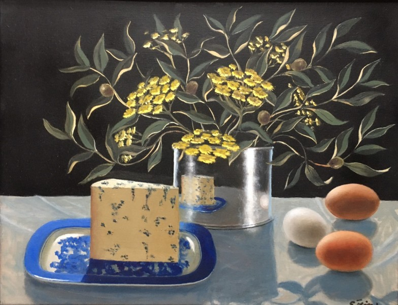 Fein Still Life with Cheese and Olives leaves